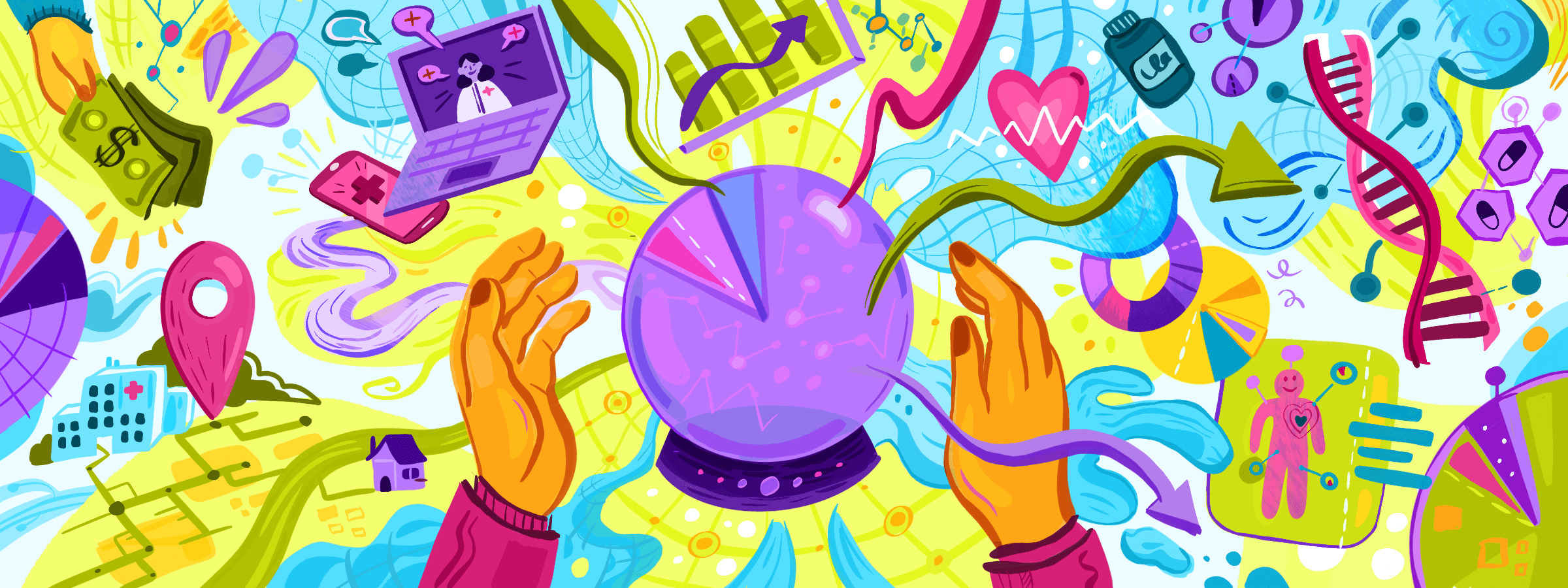 Drawing of a psychic's crystal ball.