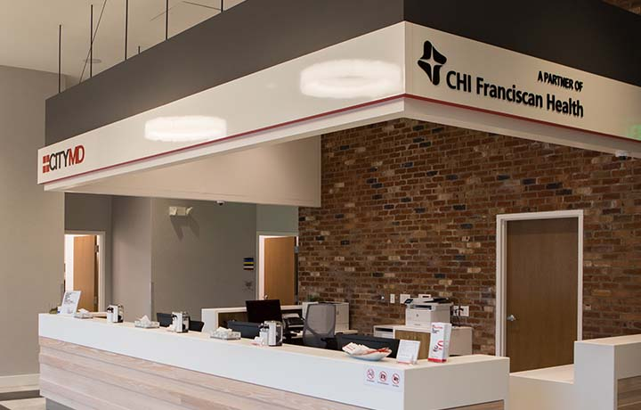 photograph of lobby of CHI Franciscan Hospital in Washington State