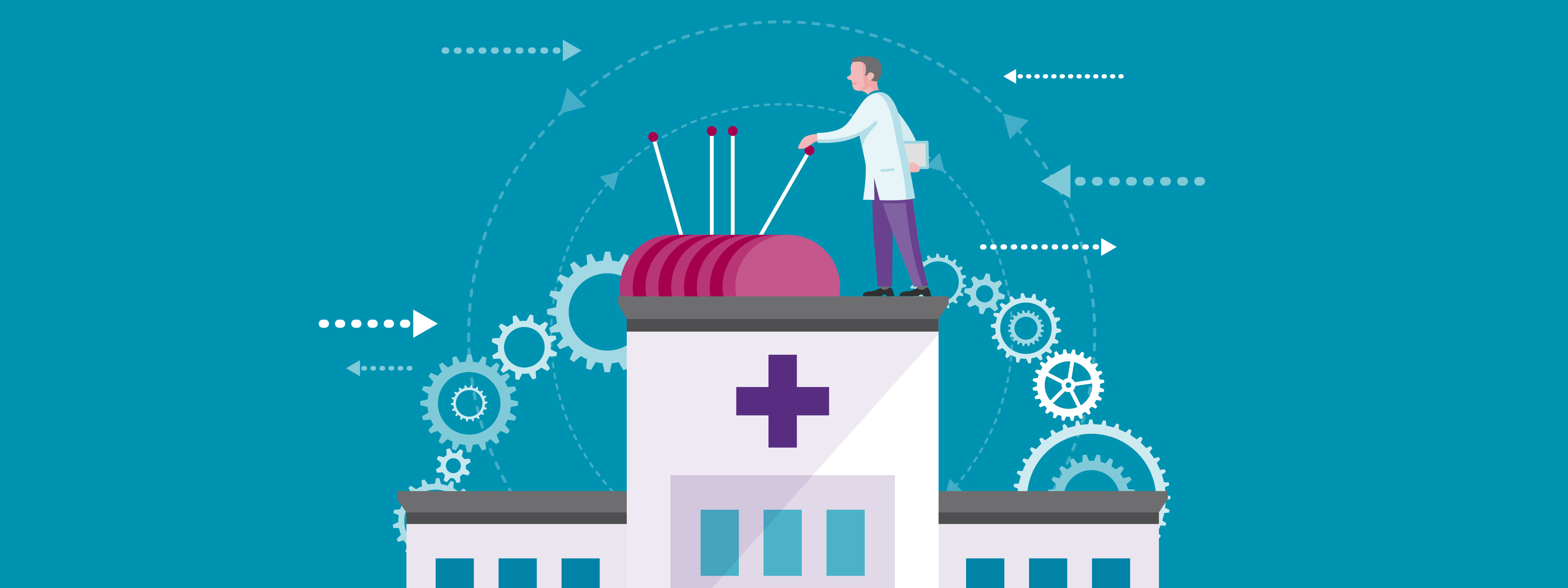 illustration of a doctor standing on top of a hospital pulling several large levers