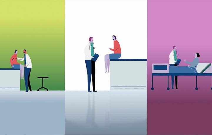 cartoon of doctors examining patients