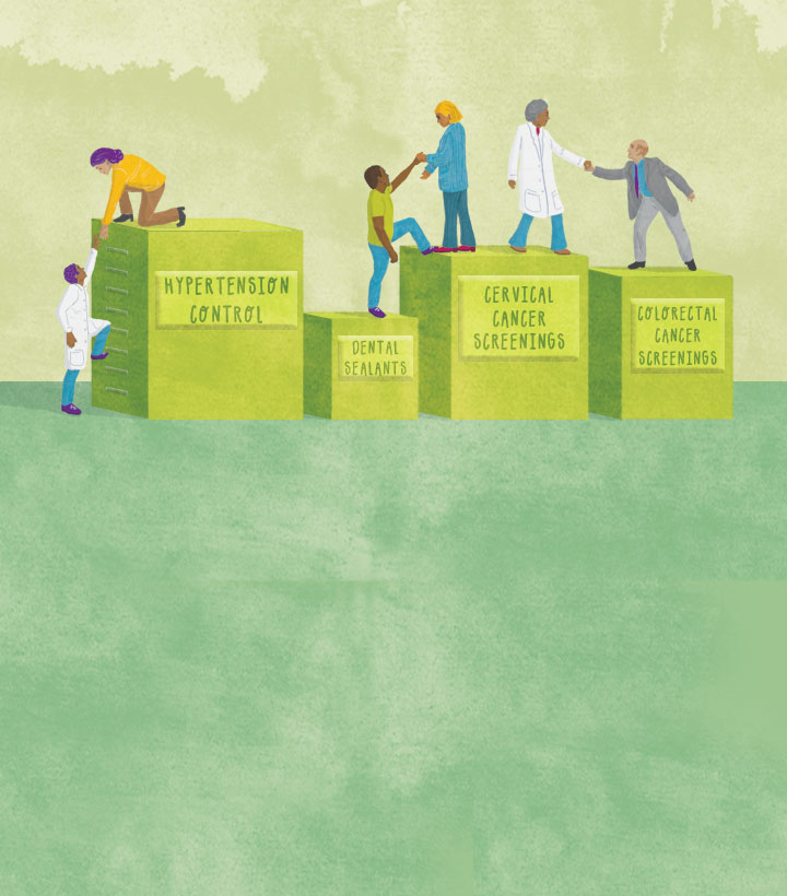 image of doctors helping patients climb building blocks of health