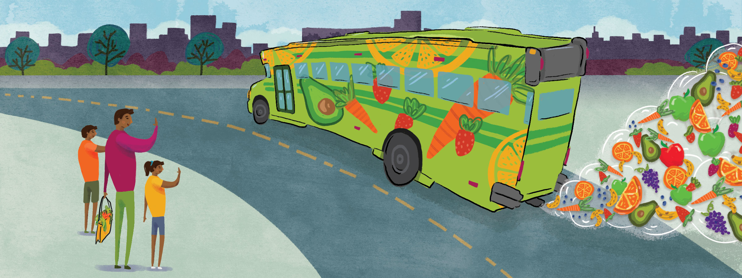 image of a colorful bus with produce