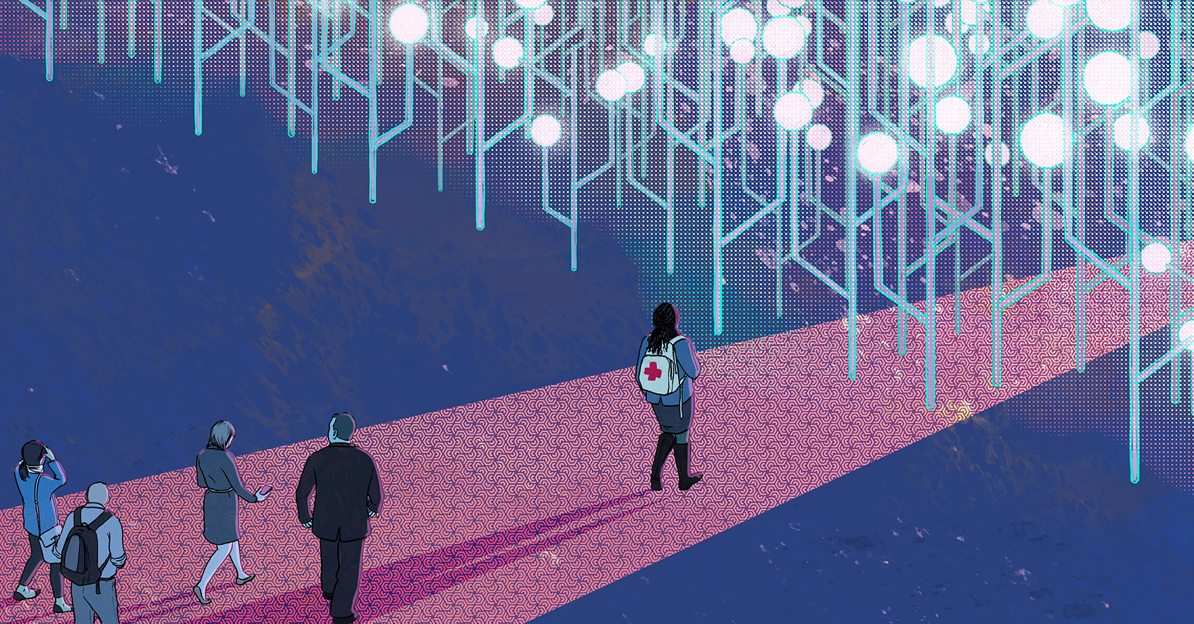 image of people walking on a red carpet toward shining overhead lights.