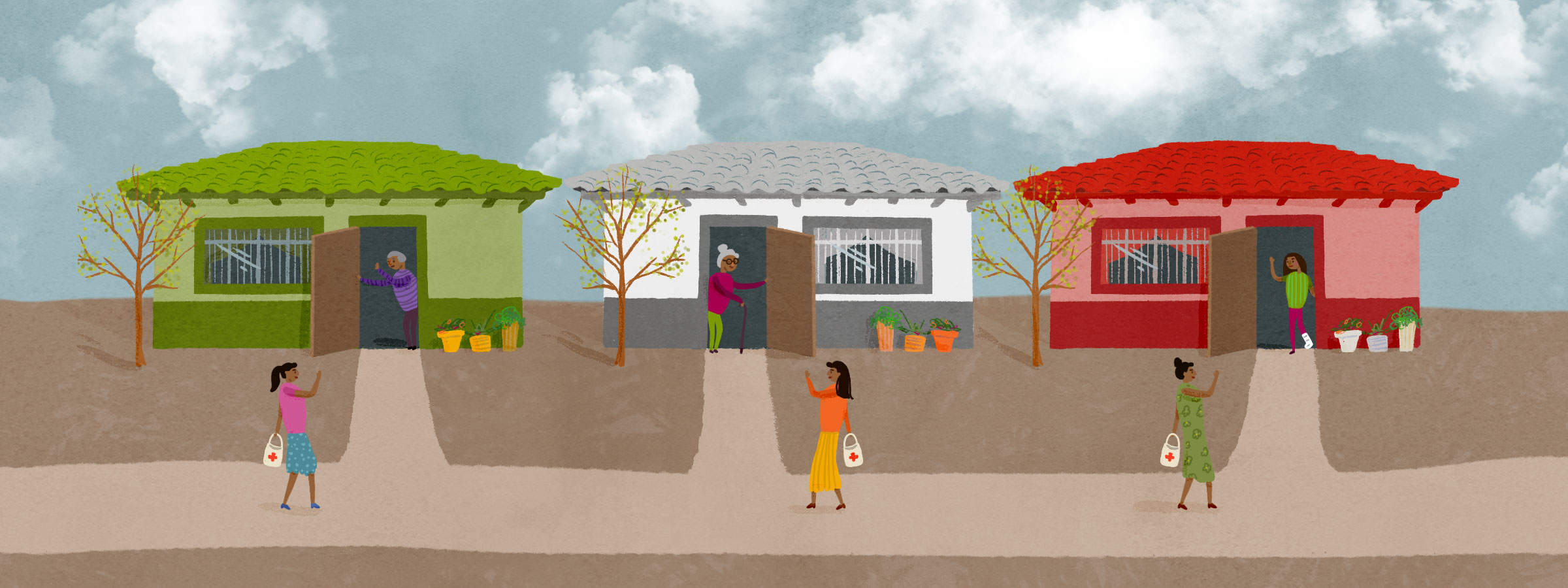 image of three small houses in a small town in Mexico with a lay health worker walking from one to another