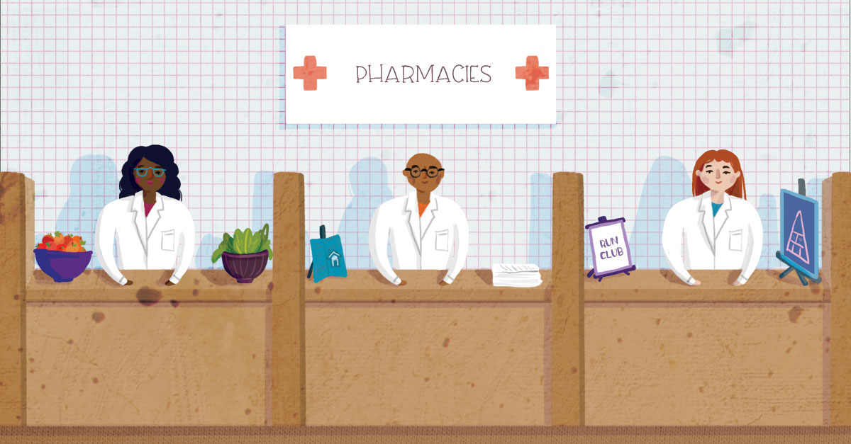 Image of three pharmacies dispensing three different types of care for patients