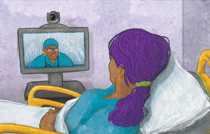 image of a patient in bed speaking with a provider over a computer screen