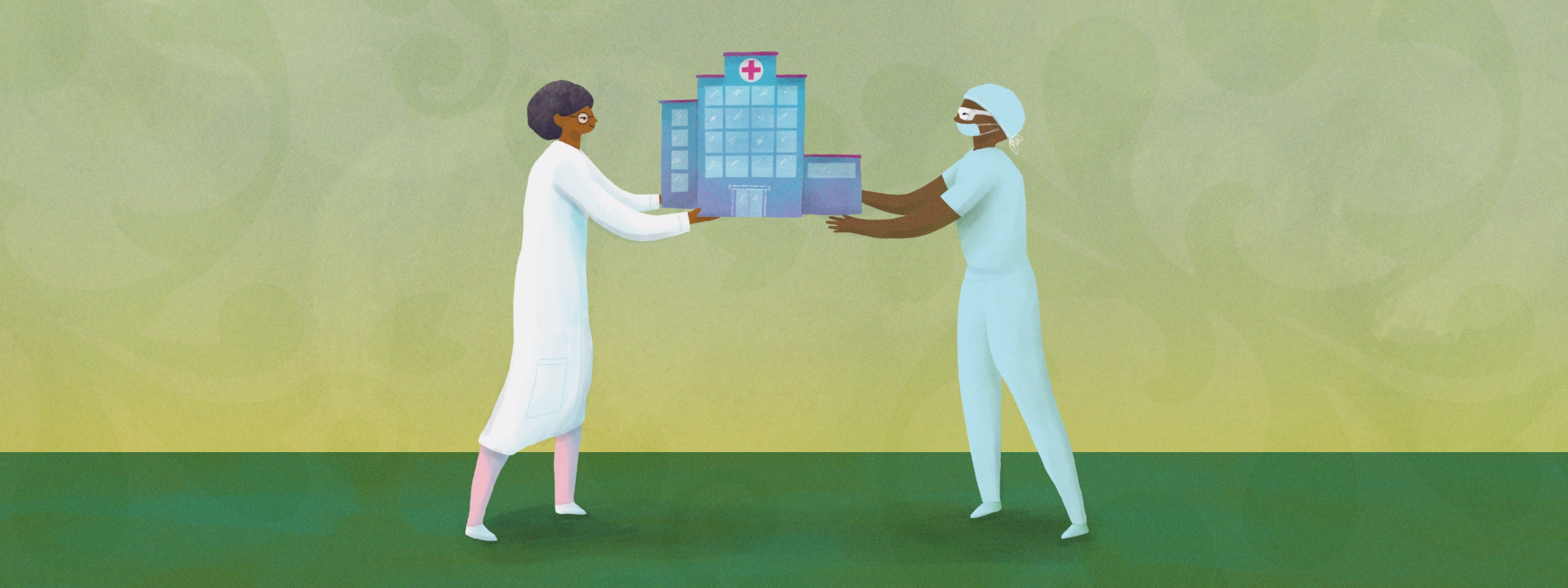 illustration of two providers holding a miniature hospital building