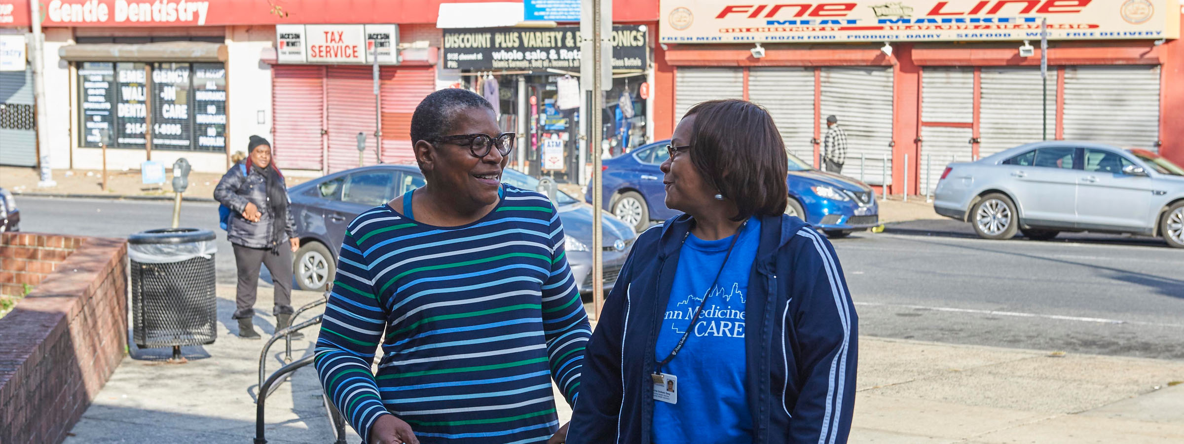 Photograph of Phyllis Jones Carter, a patient, left, with UPenn community health worker Cherlynne Graham Seay, right.