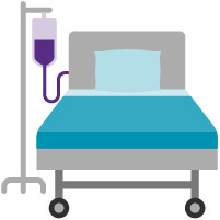 Hospital bed and IV drip