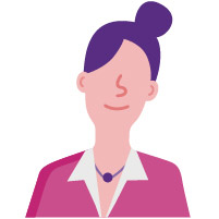 female employee purple hair pink shirt