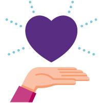 Hand holding a purple heart