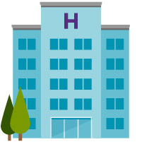 hospital and trees