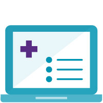 teal laptop with purple medical cross