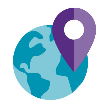 teal globe purple location arrow