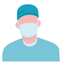 male surgeon teal scrubs and mask