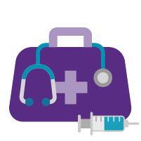 purple medical bag stethoscope syringe
