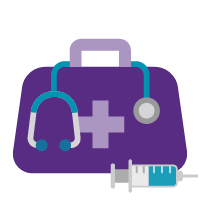 Purple medical bag stethoscope and syringe